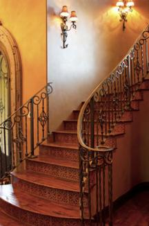 Wood and wrought iron stairway