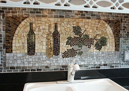 wine and grape mosaic by lori desormeaux - Wine Themed Kitchen Ideas