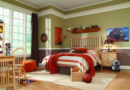 brown, orange and tan boys room