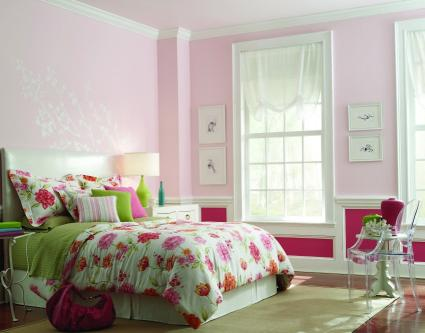 girl's two-toned pink bedroom