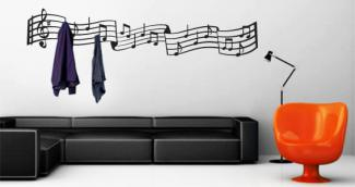 Music Notes Coat Rack Decal