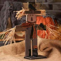 Primitive Wooden Scarecrow Candle Lamp Holder