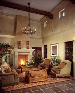 Tudor Style Living Room With Rug