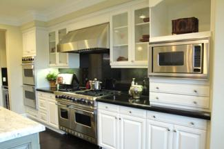 Clear glass kitchen cabinets