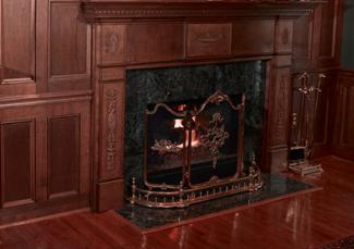 Wood paneled fireplace surround