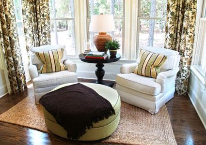 Living room rug with chairs