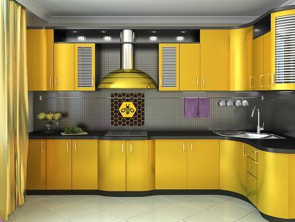 Bumblebee themed kitchen decorating ideas lovetoknow for Muebles de cocina amarillos