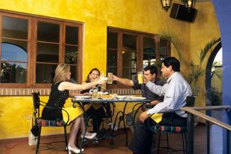 Yellow walls in Mexican restaurant