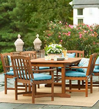 Forest Stewardship Council-Certified Eucalyptus Outdoor Extension Table and Six Chairs Set