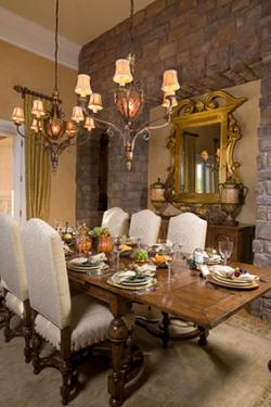 Dining room with textures for aesthetics