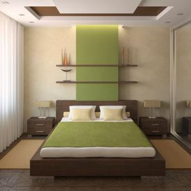 Modern bedroom with shelves