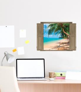 Peel & Stick Wall Decals Window View of Beach