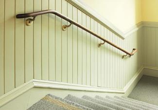 Wainscot paneling stairway