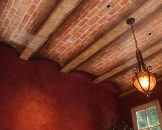 Trompe L'oeil Brick Vaulted Ceiling with faux Wood Beams by Allison Cosmos