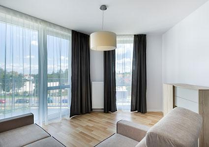 Big windows in modern living room