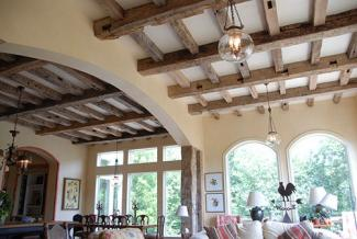Antique hand hewn home ceiling beams