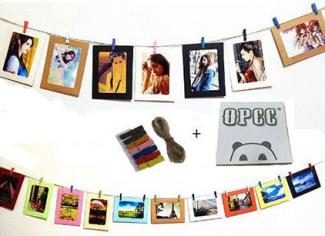 OPCC Wall Deco DIY Paper Photo Frame with Mini Clothespins and Stickers