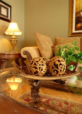 Coffee table with woodcarved decorations