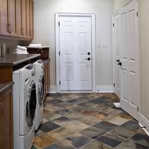 Laundry room with dramatic flooring