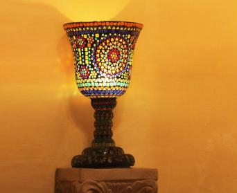 Stained Glass Goblet Candle