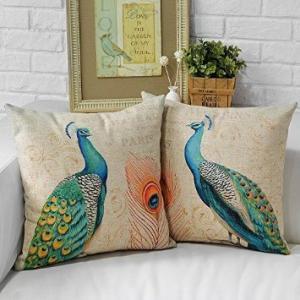 Yoovimin Decorative Cushion Cover Peacock Pillowcase