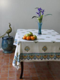 Ivory Peacock Feather Print Elegant Tablecloth