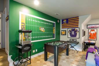 Purple Monkey Interios Football-themed game room