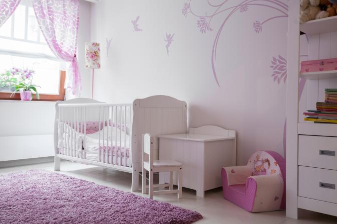 Baby room with white furniture
