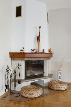natural fireplace in corner