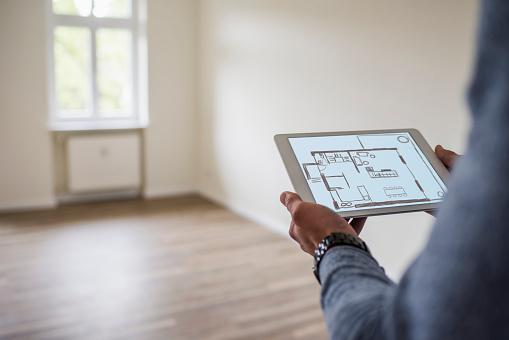 tablet with floor plan