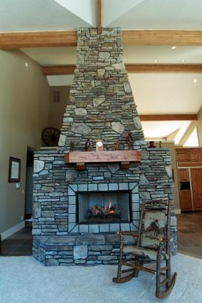 Rustic stone fireplace
