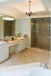 A chandelier can add an elegant touch to your bathroom.