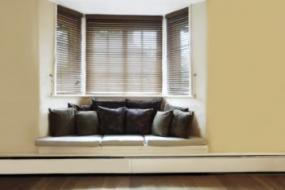 Stylish window seat with clean lines.
