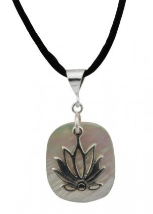 Sterling Silver with Mother of Pearl Lotus Pendant from Buddha Groove