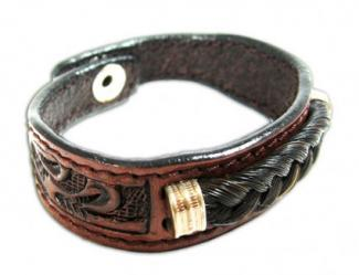 Gift Corral Tooled Leather Horse Hair Bracelet