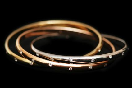 Colored gold bangles