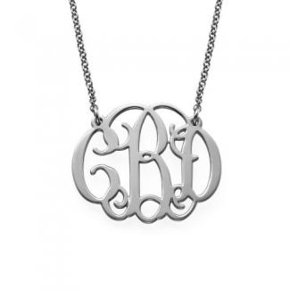 sterling silver custom monogram necklace