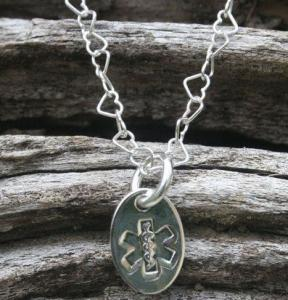 921 Sterling Silver Oval Medical Id Necklace