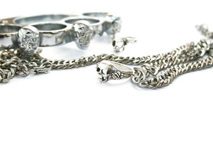 Silver Brass Knuckle Pendant and Chain