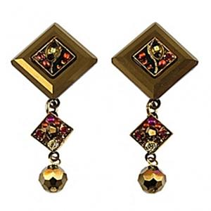 Firefly La Dolce Vita Diagonal Drop Post Earring Smokey Topaz-Gold Tone