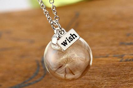 Dandelion Flower Seed Glass Pendant Wish Necklace