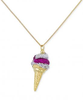 SIS by Simone I. Smith Pink and Clear Crystal Ice Cream Cone Pendant Necklace