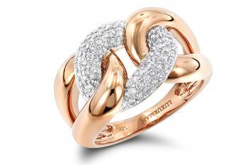 Luxurman Ladies Cocktail Love Knot Cuban Link Natural Diamond Ring