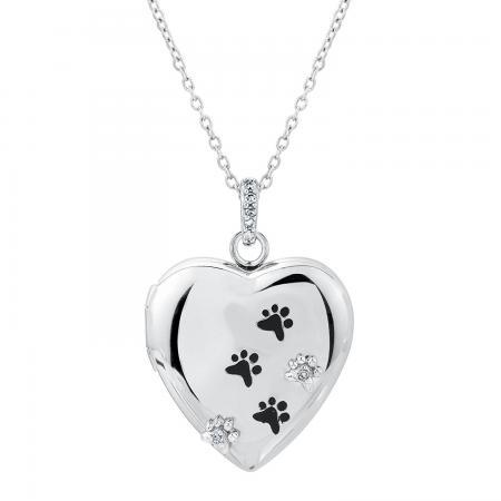 TenderVoices Diamond Paw Print Heart Locket