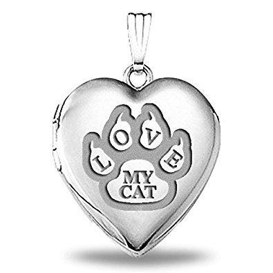 Love My Cat Paw Print Locket