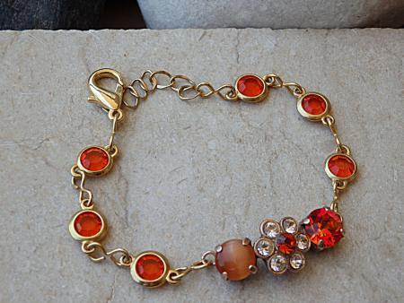 Orange stone and Swarovski bracelet by RebekaJewelry on Etsy