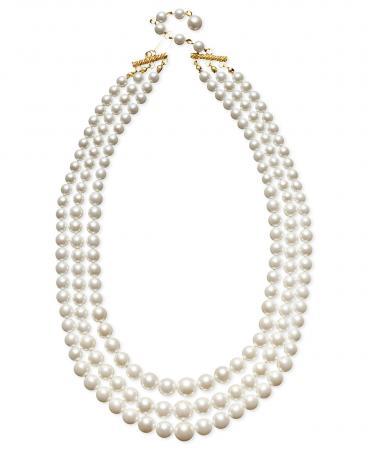 Charter Club Three Row White Simulated Pearl (10 mm)