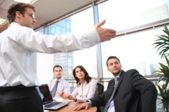 Man instructing group of people
