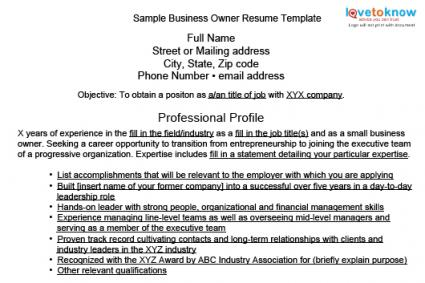 Sample Business Owner Resumes
