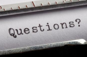 Word questions typed on old typewriter